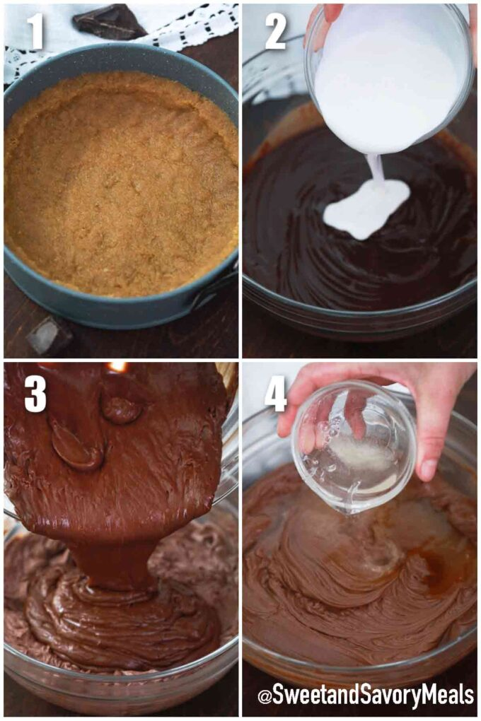 steps how to make no bake slice of no bake chocolate cheesecake