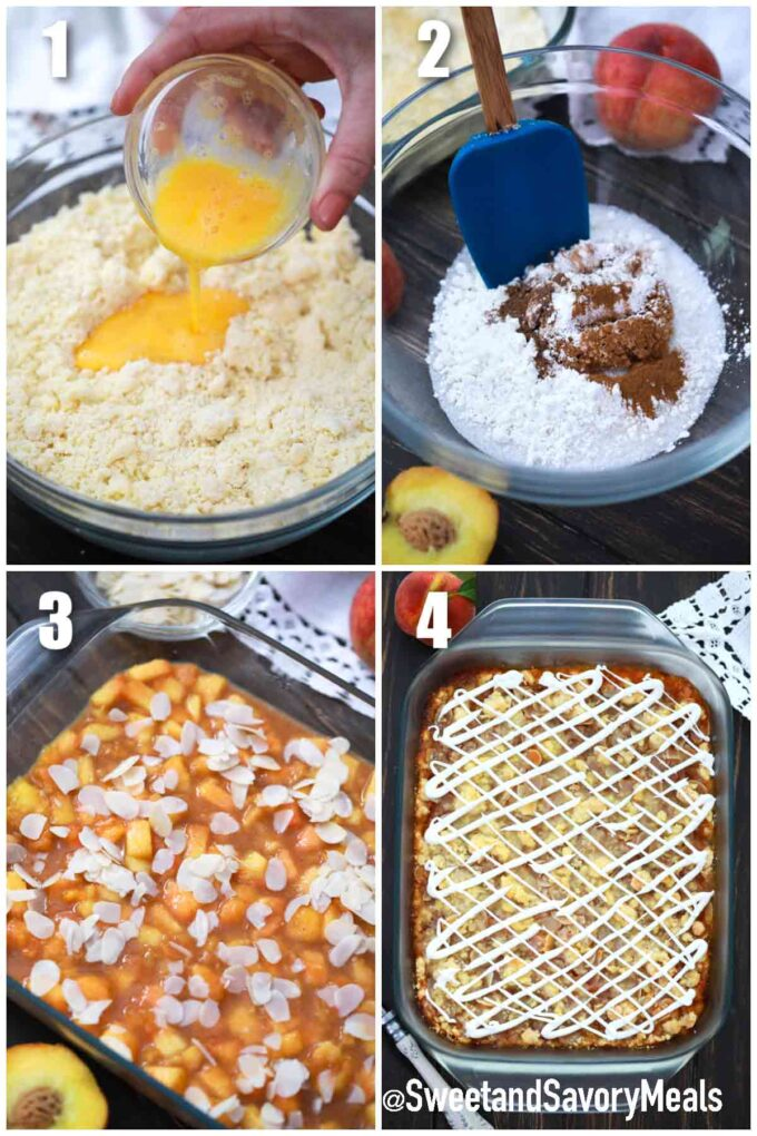 steps how to make peach crumb bars with fresh peaches
