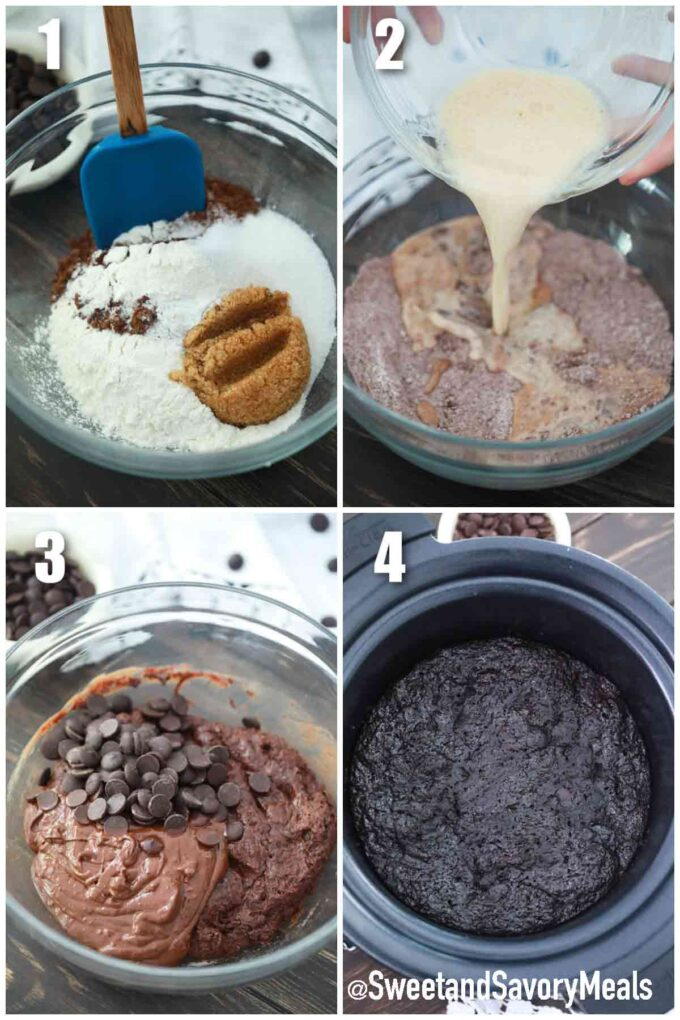 steps how to make slow cooker chocolate cake