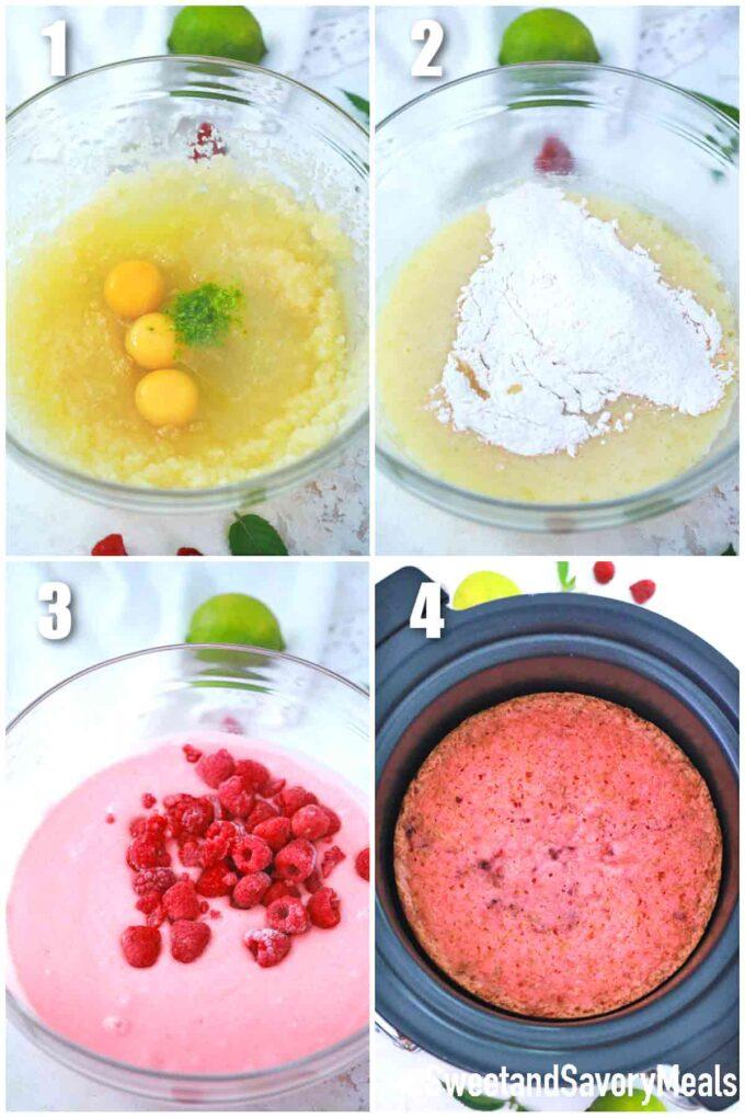 steps how to make crock pot raspberry cake