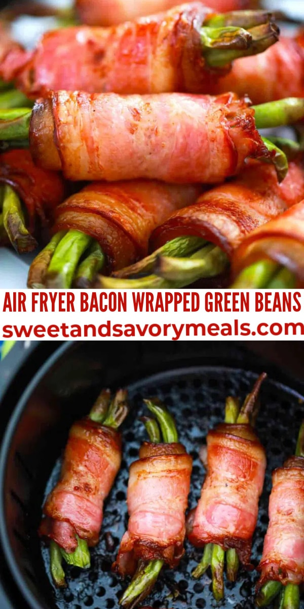 easy air fryer bacon wrapped green beans pin