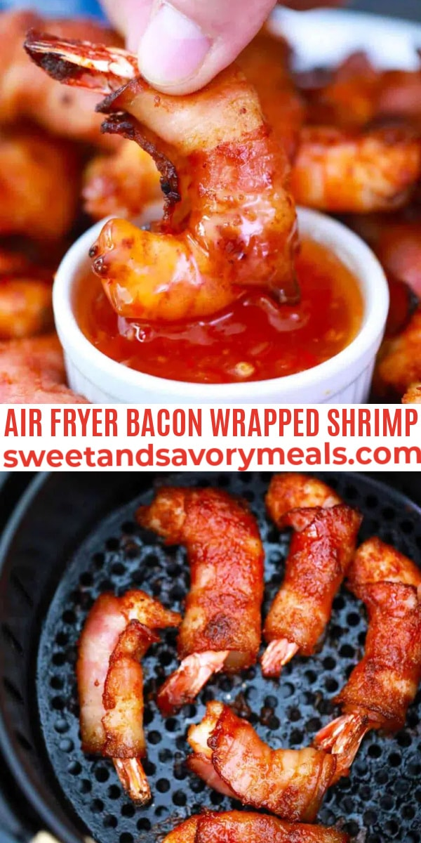easy air fryer bacon wrapped shrimp pin