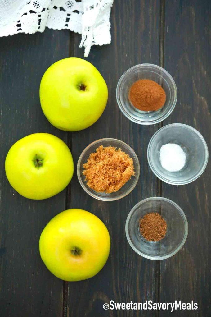 air fryer apple chips ingredients in individual bowls on a table