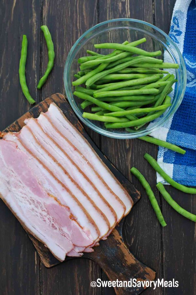 bacon wrapped green beans ingredients on a table