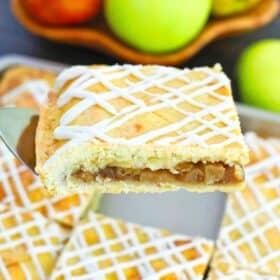 a slice of apple slab pie