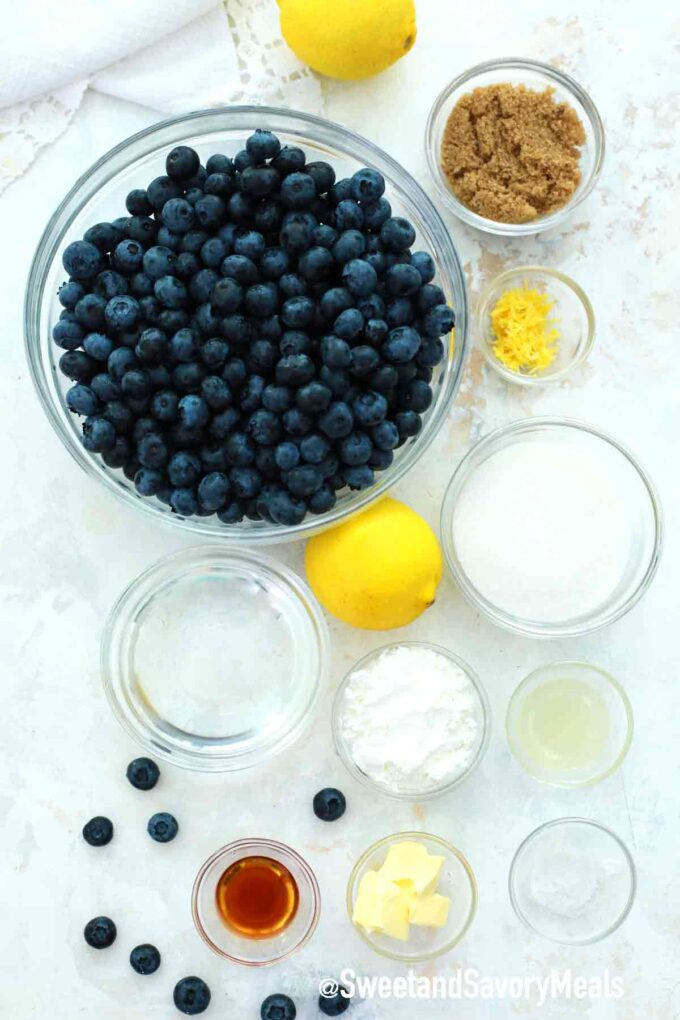 blueberry pie filling ingredients on a table