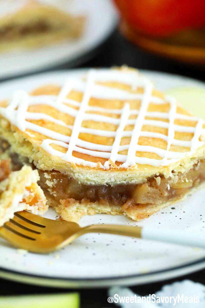 a slice of apple slab pie on a plate