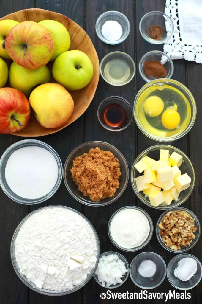 instant pot apple bread ingredients in individual bowls on a table