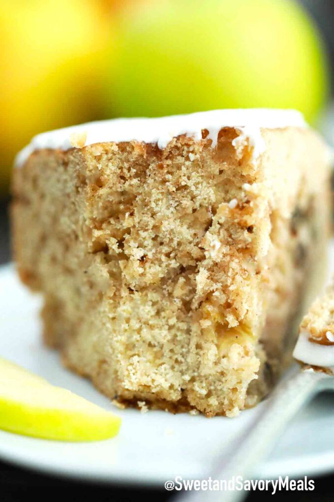 slice of apple cake with cinnamon sugar