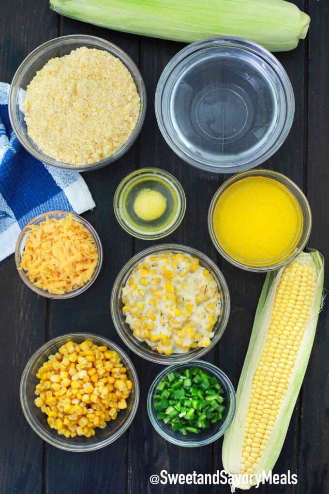 instant pot corn casserole ingredients in individual bowls on a table