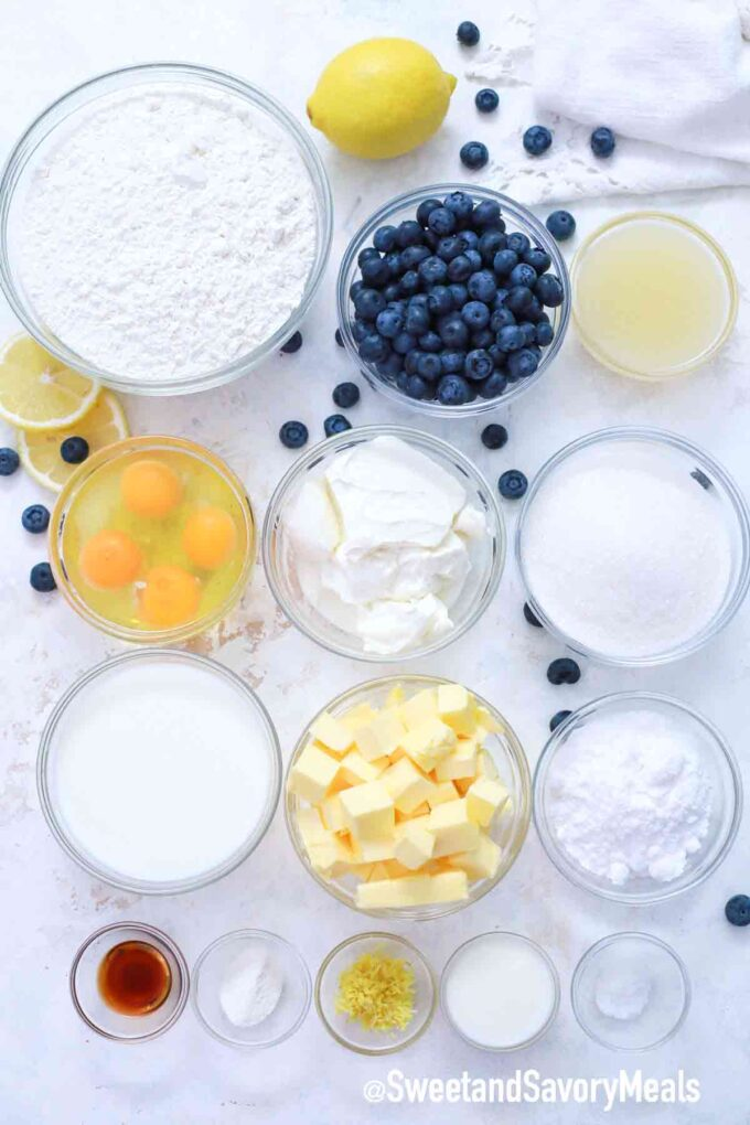 lemon blueberry cake ingredients on a table