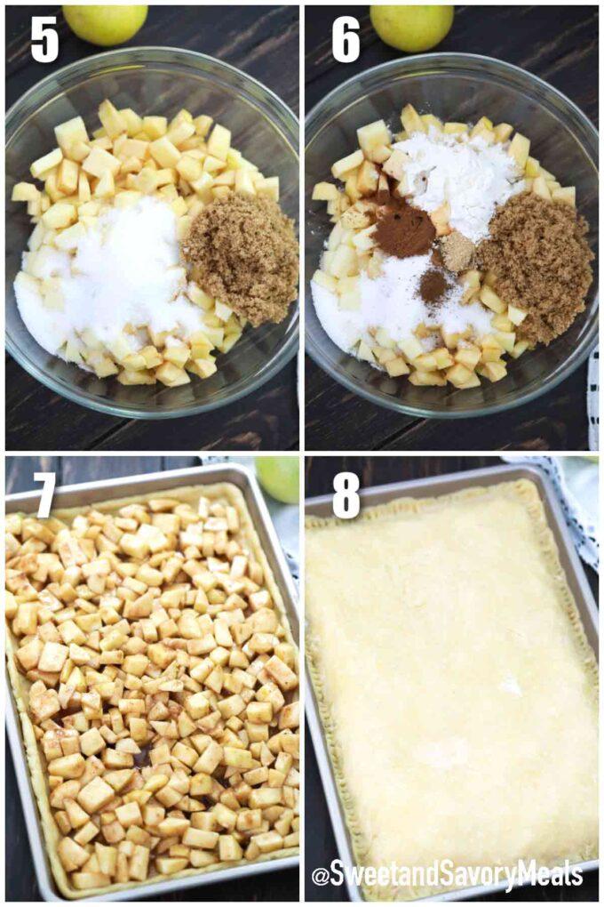 step show to make apple filling for apple slab pie