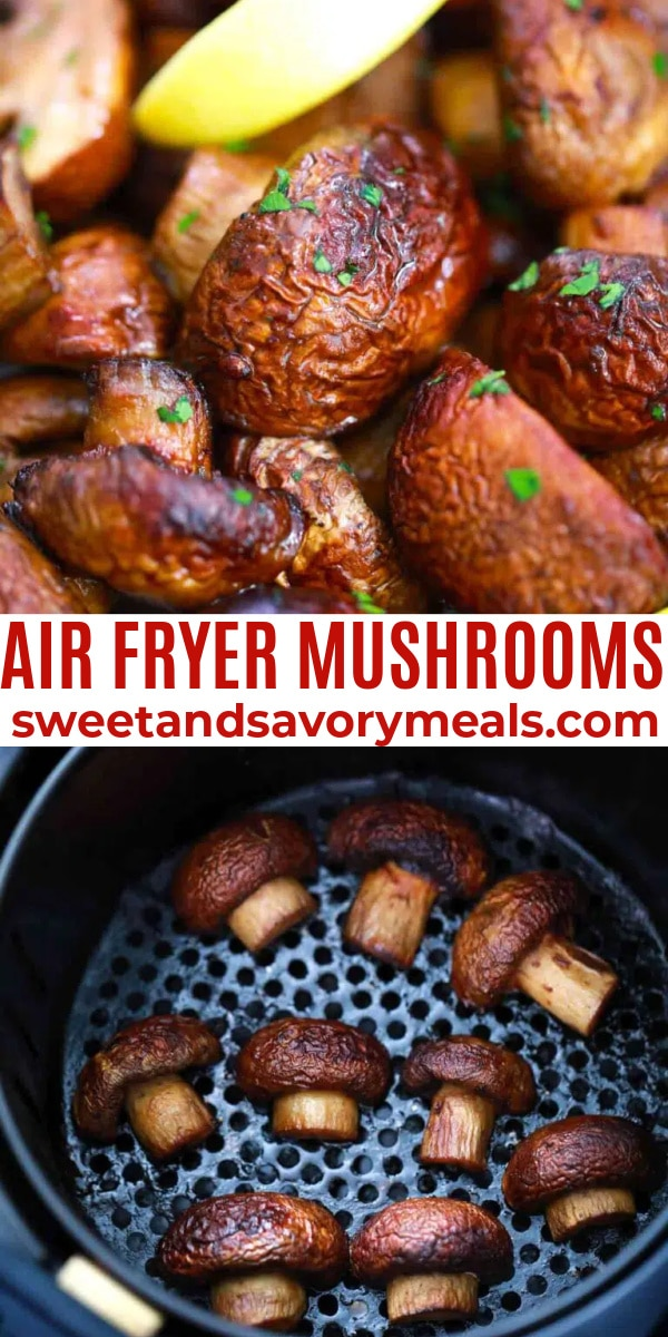 easy air fryer mushrooms pin