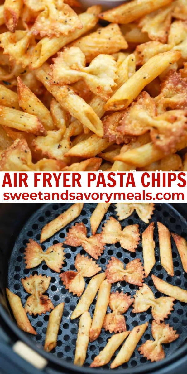 easy air fryer pasta chips pin