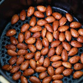 air fried almonds in the air fryer basket