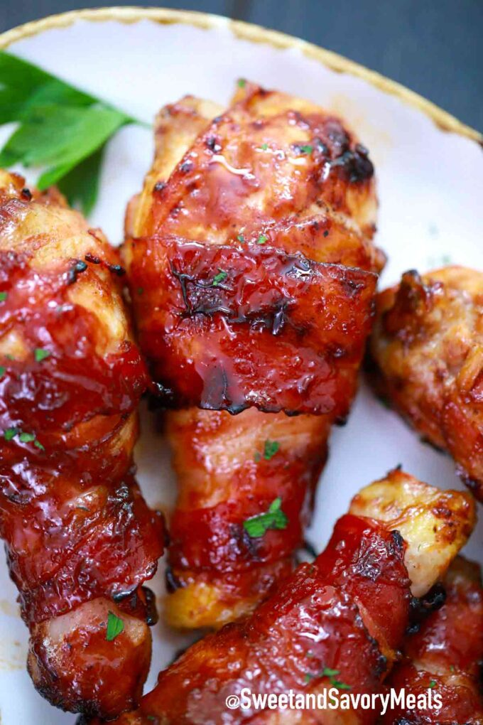 crispy bacon wrapped chicken drumsticks
