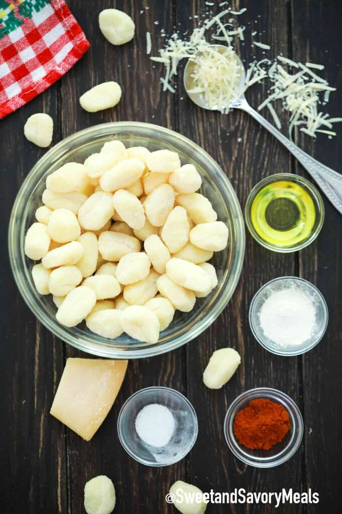 air fryer gnocchi ingredients on a table
