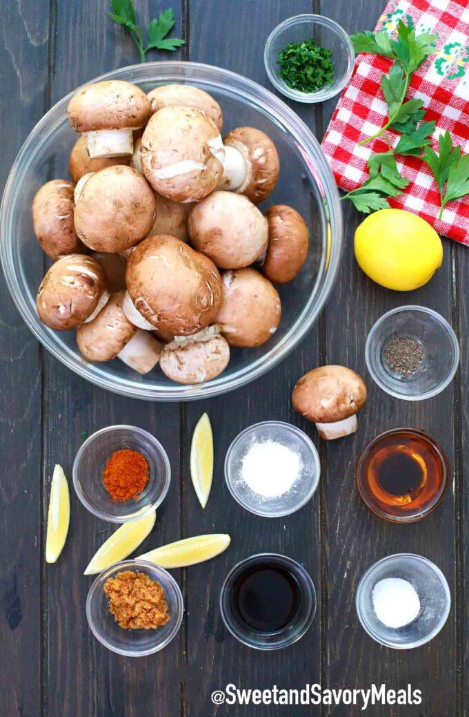 air fryer mushrooms ingredients in individual bowls on a table