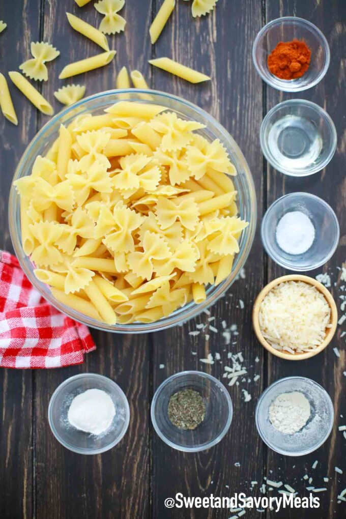 pasta chips ingredients in individual bowls on a table