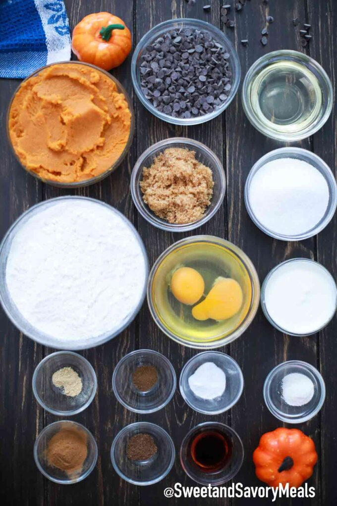 chocolate chip pumpkin bread ingredients on a table