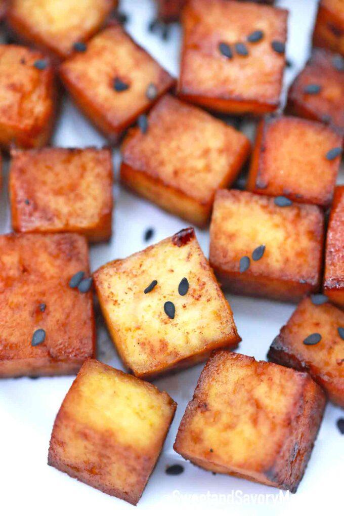crispy tofu bites with black sesame seeds