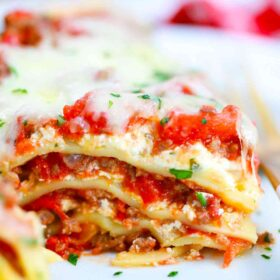 cheesy lasagna slice