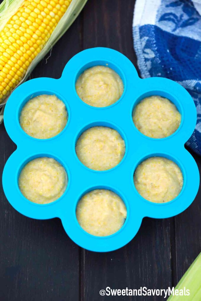 corn muffin batter in a silicone mold