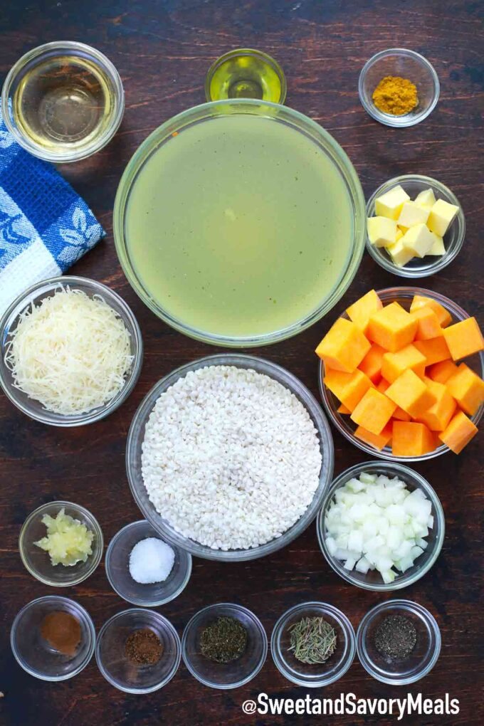 instant pot pumpkin risotto ingredients on a table