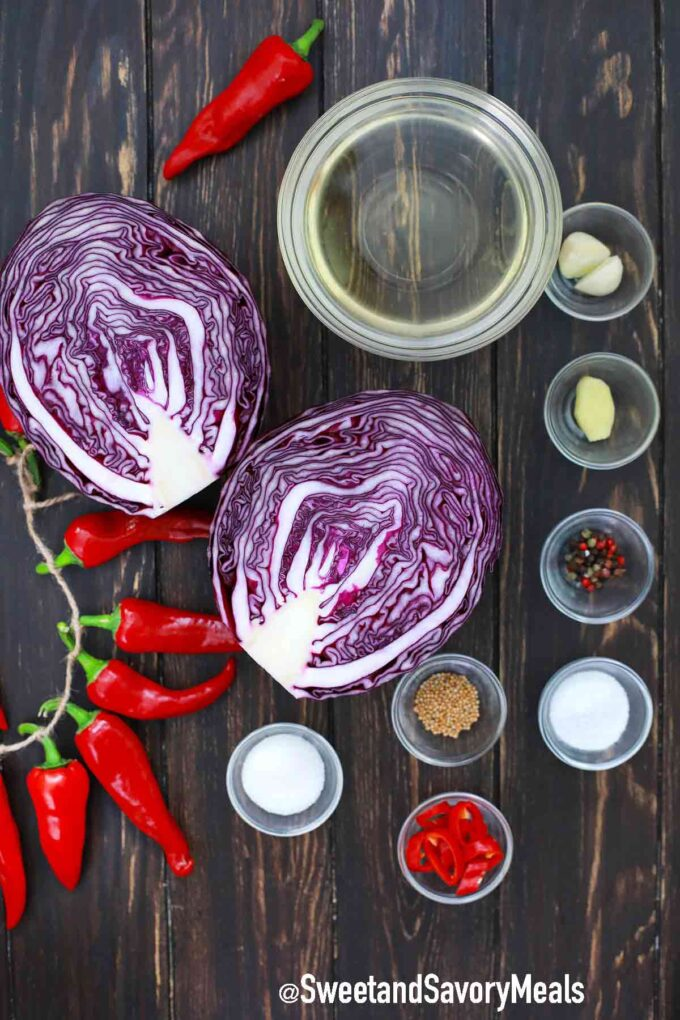 pickled red cabbage ingredients in individual bowls on a table