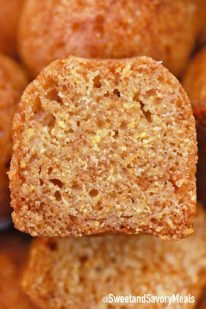 sliced corn muffin
