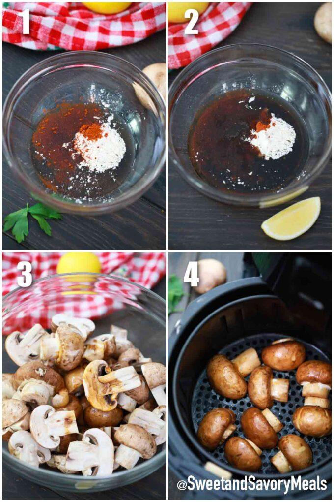 steps how to make air fried mushrooms