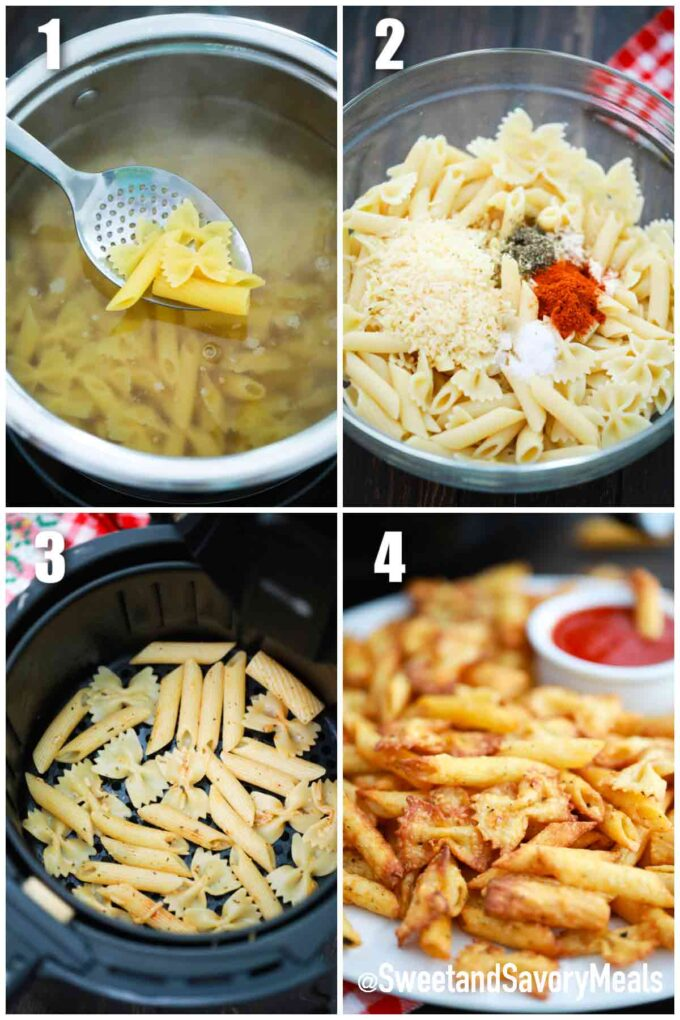 steps how to make air fried pasta chips