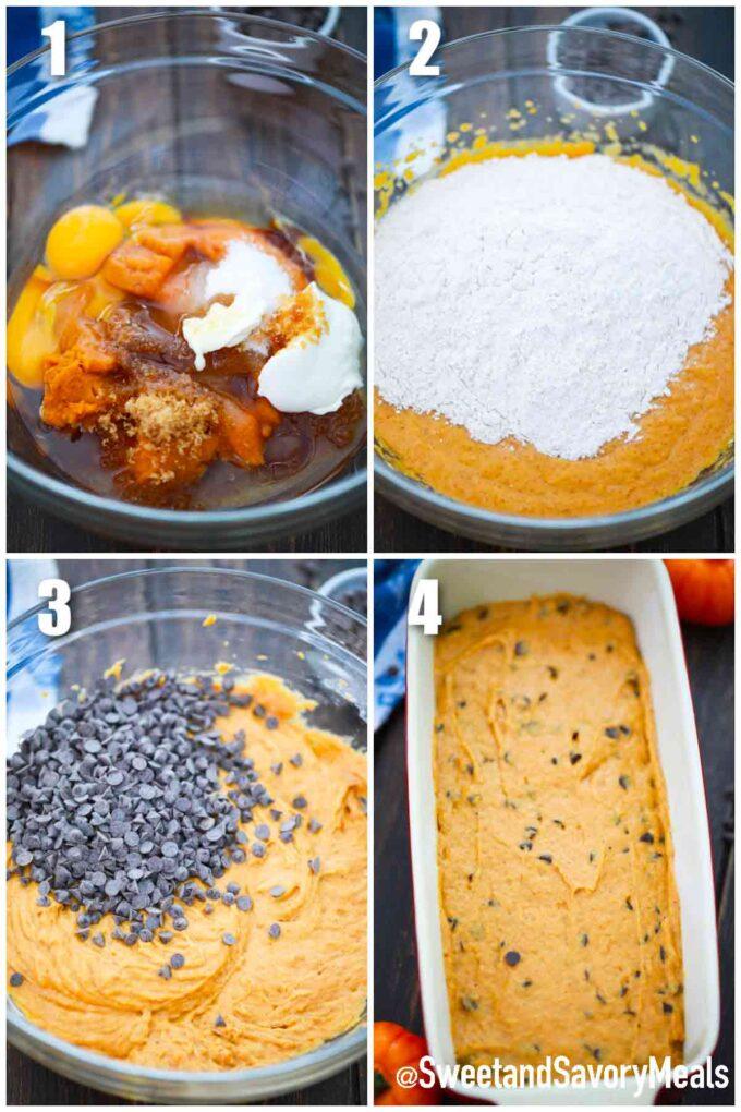 steps how to make sliced chocolate chip pumpkin bread