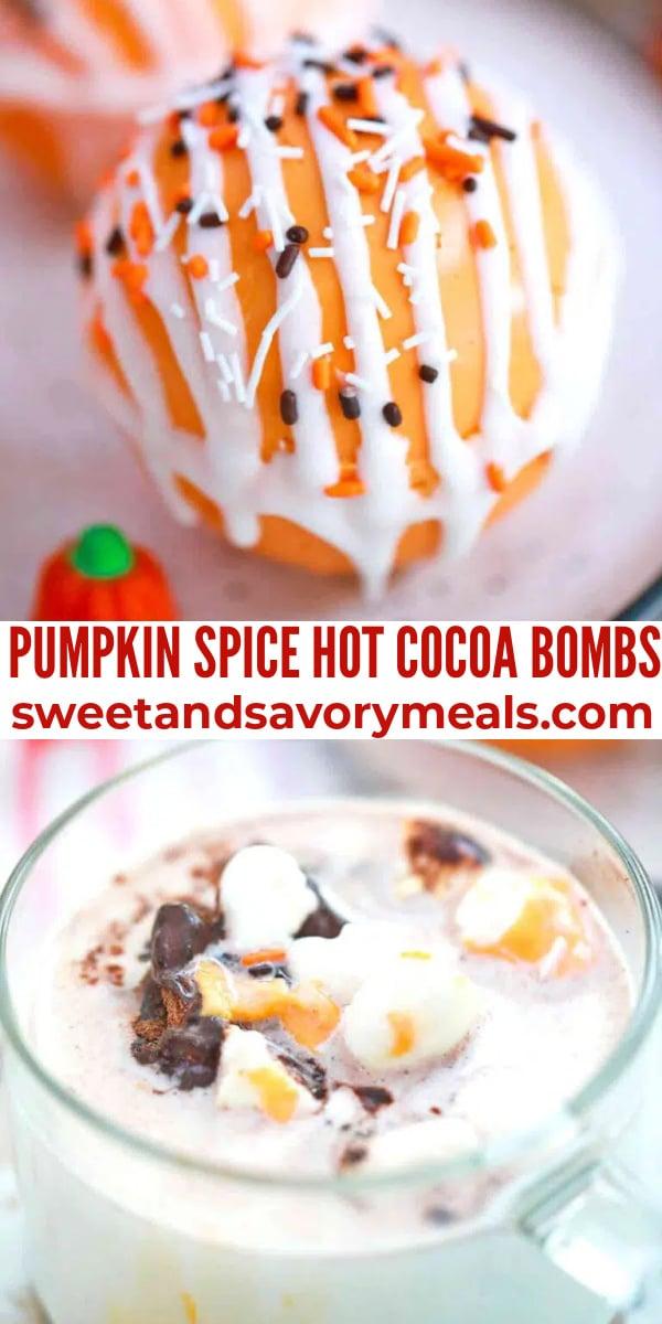 easy pumpkin spice hot cocoa bombs pin