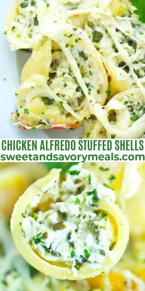 easy chicken alfredo stuffed shells pin