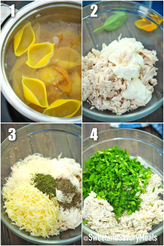 steps how to make chicken Alfredo stuffed shells filling