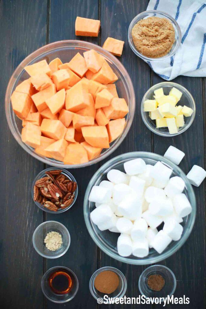 crockpot sweet potato casserole ingredients on a table