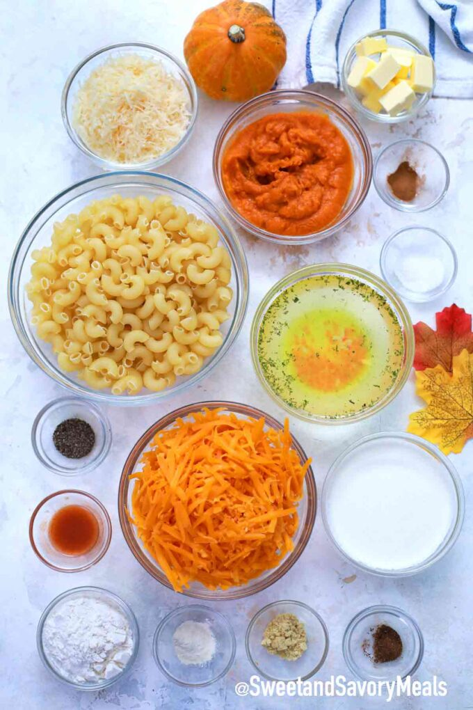 pumpkin Mac and cheese ingredients on a table