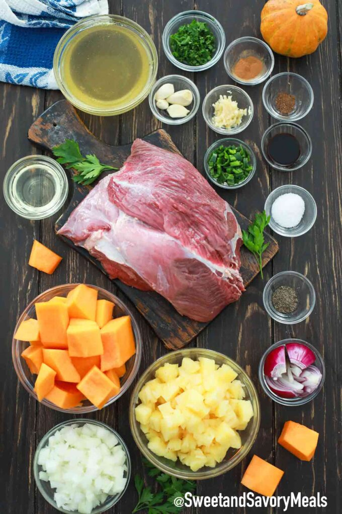pumpkin pot roast ingredients in individual bowls on a table