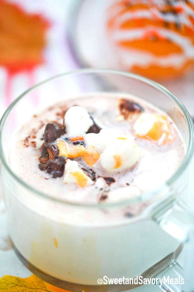melted cocoa bomb in milk