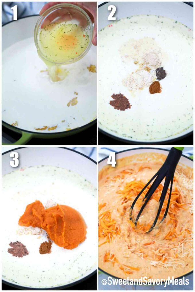 steps how to make pumpkin Mac and cheese