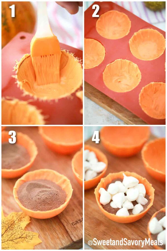 steps how to make pumpkin spice hot cocoa bomb